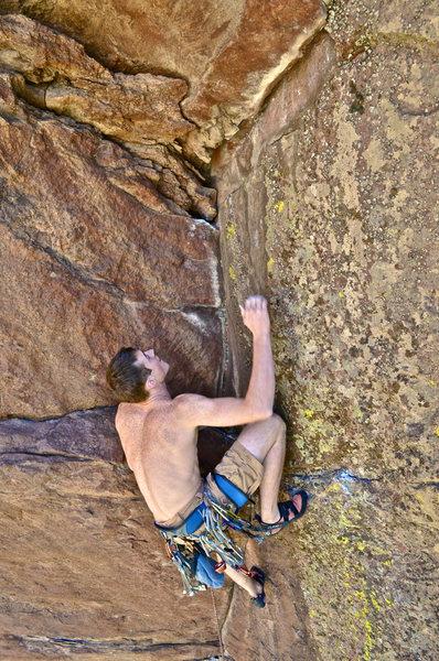 Rock Climbing Photo: Pete near the top.