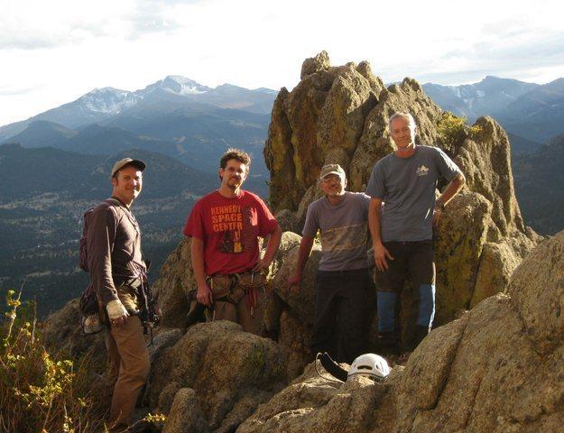 Bill Duncan, Alan Ream, Mike Colacino, Doug Donato. Lumpy Ridge Sept 2011. Photo by Bill.