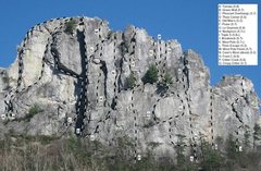 (Not my image) <br />Selected routes on the South Peak - West Face.