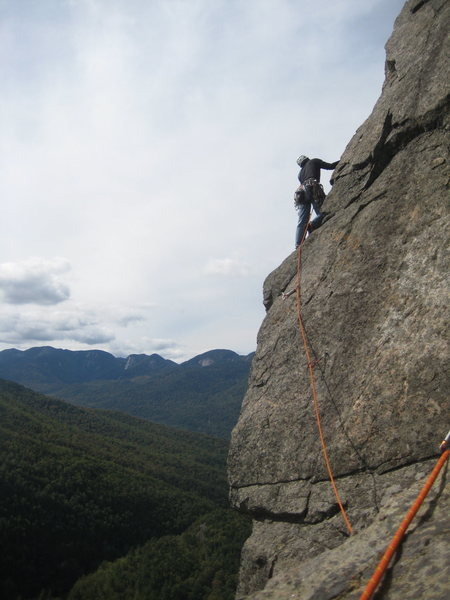 "Rock Climbing Photo: Dennis on the final pitch of ""Overture""...."
