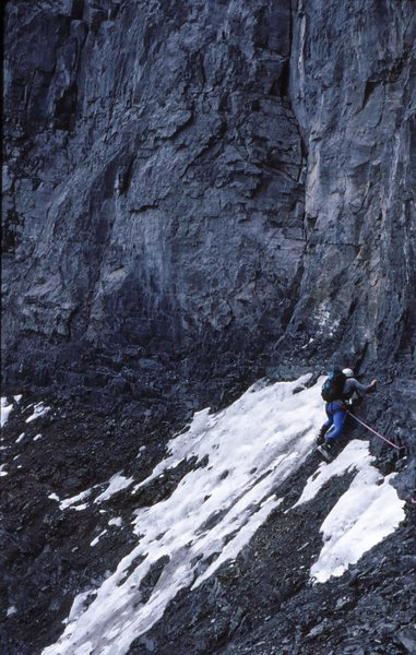 Monty Reagan starting the loose traverse on the Greenwood  - Locke 1994.