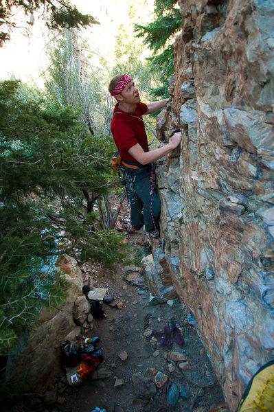Rock Climbing Photo: Adam Jensen just past the roof