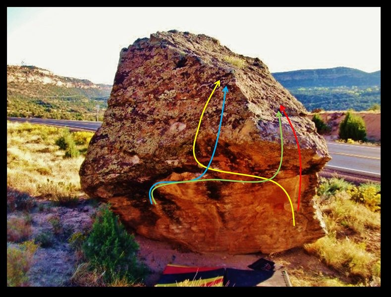 Aguanile problem on the Lavoe Boulder, in red.