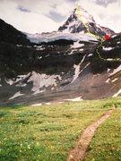Rock Climbing Photo: ASSINIBOINE, NORTH RIDGE  red box - Hind Hut
