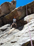 Rock Climbing Photo: Dave decides to try it the harder, left version.  ...