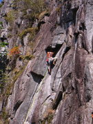 Rock Climbing Photo: Climber nearing the top of the dihedral on Special...
