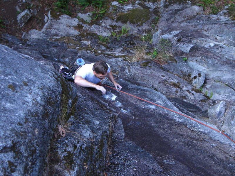 Just below the crux move into the dihedral crack on Rise Pumpkin Rise.