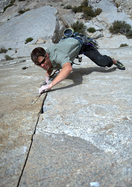 Austin Archer approaching the tips crux of Moment of Zen (pitch 1)
