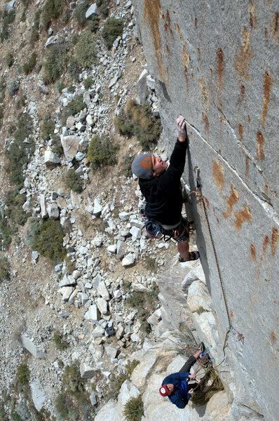 Rock Climbing Photo: Brad Johnston-Cox on pitch 1 of Workingman's Arete