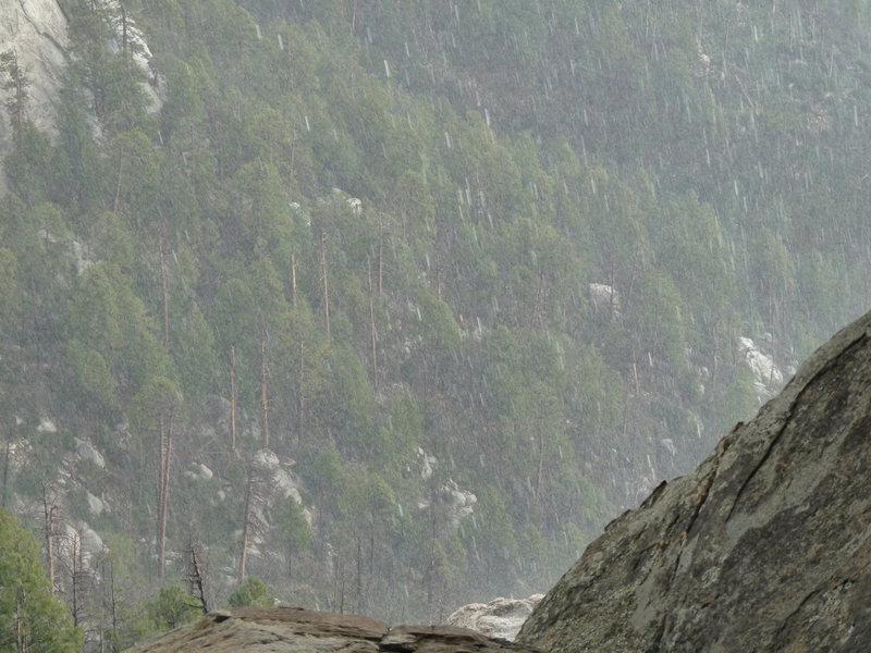 Rock Climbing Photo: Hail during