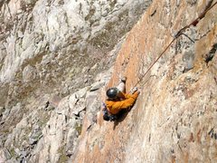 Rock Climbing Photo: Exposed and beautiful finish to the second pitch.