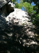 Rock Climbing Photo: The route goes up the blank looking face
