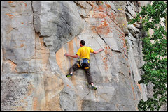 Rock Climbing Photo: Edge right to the arete and straight up into the c...