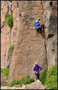 Rock Climbing Photo: Big moves that takes gear well. Boissal's Photo.