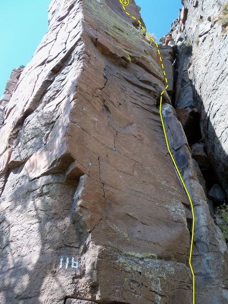 "Rock Climbing Photo: The bolted arete, marked 11b, is the ""Direct ..."