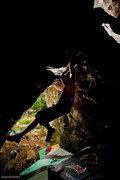 "Rock Climbing Photo: Aaron James Parlier on the end moves of ""Esca..."