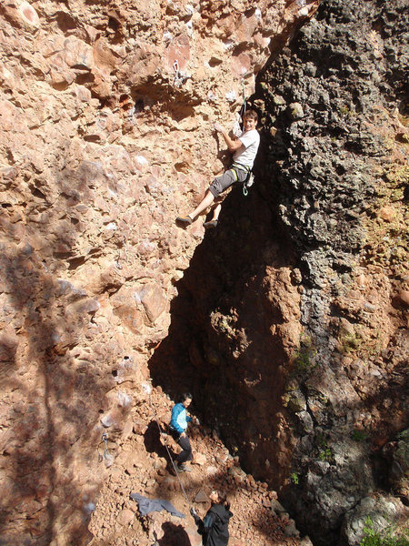 Matt Moore mounting the arete