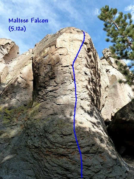 Rock Climbing Photo: Maltese Falcon (5.12a), Clark Canyon