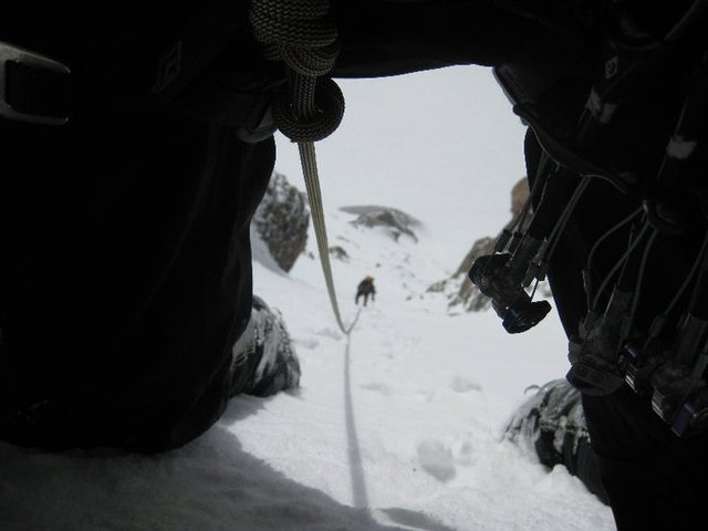 Coming up the lower section in deep snow.