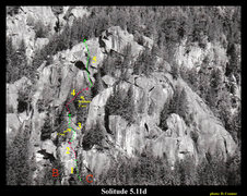 Rock Climbing Photo: Overview of Solitude. Numbers mark the pitches. &q...