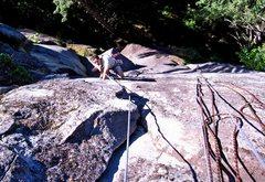 Rock Climbing Photo: Jon at the crux of pitch 2.