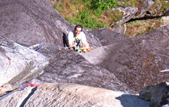 Rock Climbing Photo: Jon, just past the crux section on pitch 5.
