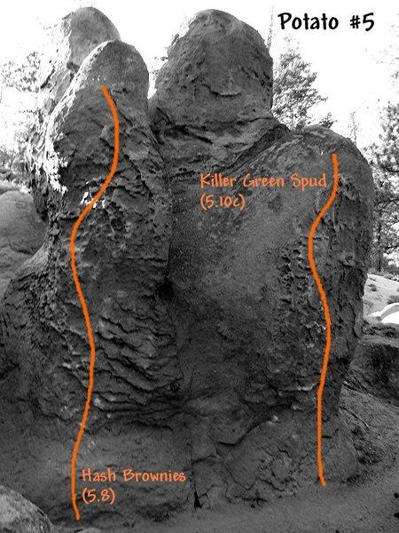 Rock Climbing Photo: Potato 5 photo/topo, Clark Canyon