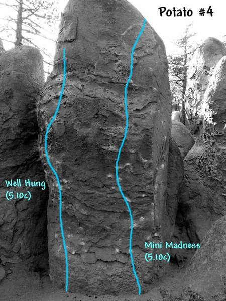 Rock Climbing Photo: Potato 4 photo/topo, Clark Canyon