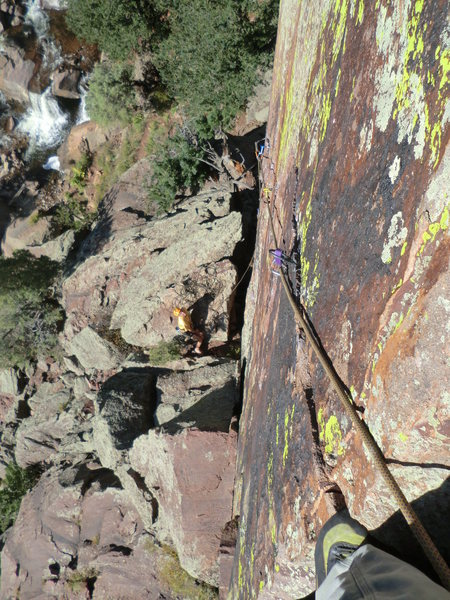 Looking down the route before topping out, Super Route! Brad White belaying.