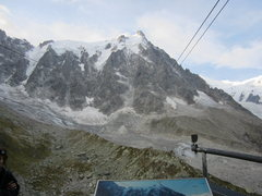Rock Climbing Photo: Riding the cable car from the Plan de l'Aiguille(m...