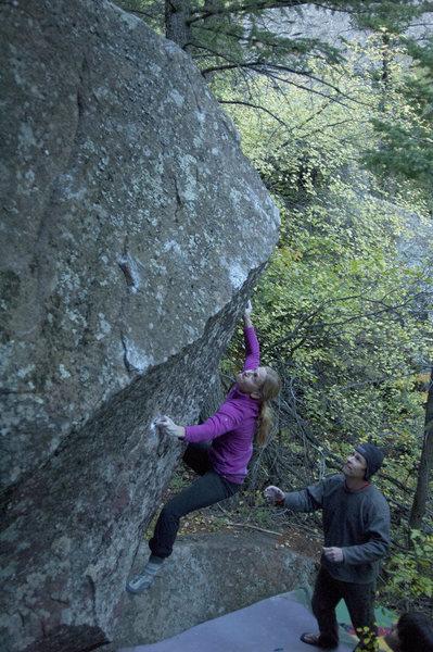 Rock Climbing Photo: Trixie on the V5 Arete.