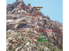 This is another old route that goes to the top of the formation.  Very nice climb for the new leader.