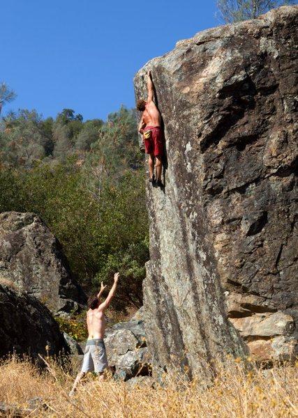 Rock Climbing Photo: Justin sticking the highest crux move.