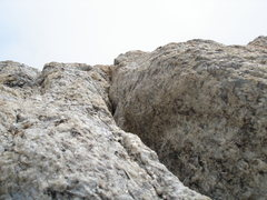 Rock Climbing Photo: Base of the Off-Balance hand crack above the Black...