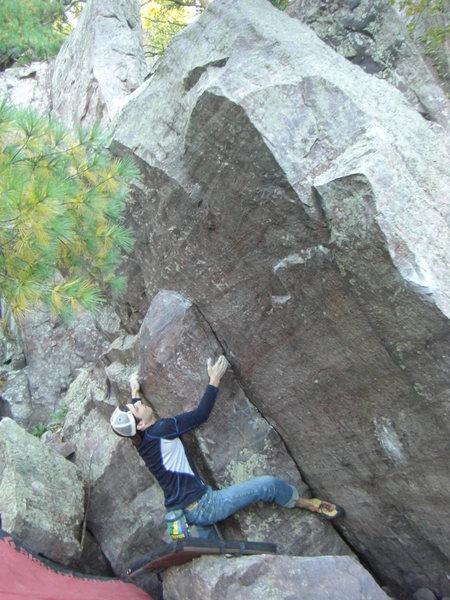 Rock Climbing Photo: Hugging the bulge feature.