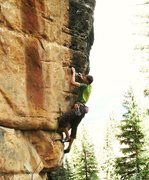 "Rock Climbing Photo: Jason Halladay at the second bolt, near the ""..."
