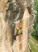 Rock Climbing Photo: Halladay prepares for the crux.  Hollow Excuse (5....