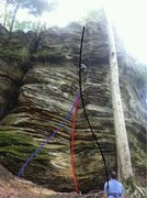 Different starts for Amazing grace. Black seems to be a fit for the 5.8+ grade, direct start (red) 5.9+, blue 5.9.