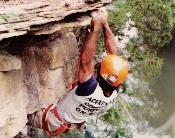 at Kankakee state park back in the early 80's when it was still legal to climb there.  Debbies Delightful Derriere, 5.9+
