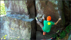 Rock Climbing Photo: Working through the bottom moves