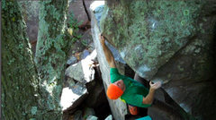 Rock Climbing Photo: The scariest move probably