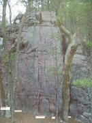 Rock Climbing Photo: The problem ascends the pillar on the far right of...