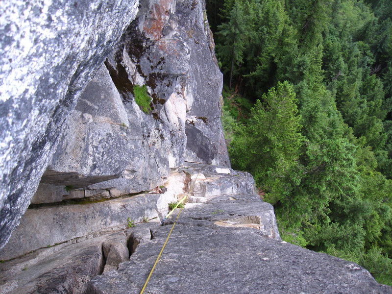 Looking down from the belay at the top of DGS pitch 2.