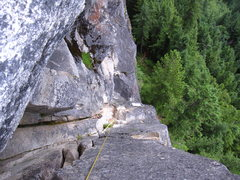 Rock Climbing Photo: Looking down from the belay at the top of DGS pitc...