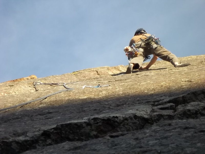 Rock Climbing Photo: AJ working the lead on P2 of Deserted Cities as th...
