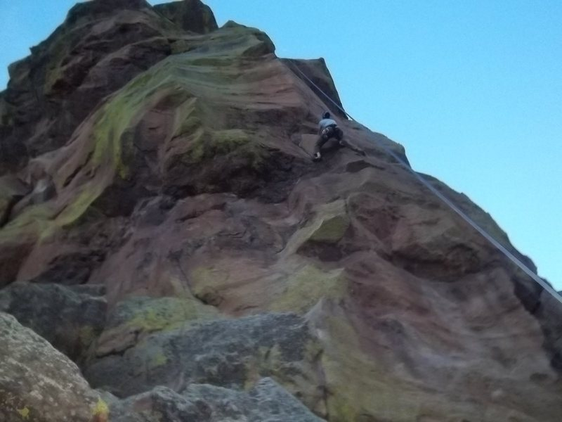 AJ working his way up our after work, evening climb of Saturday's Folly. September 30, 2011.