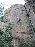 Rock Climbing Photo: Scott, cranking the rads.