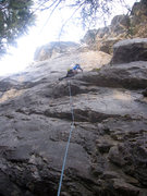 Rock Climbing Photo: About 2 meters below the crux on Puff Puff.