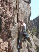 Rock Climbing Photo: Wyatt starting across the traverse to Journey Home...