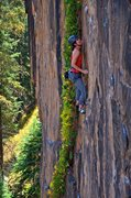 Rock Climbing Photo: Focusing on the next holds through the crux. Septe...